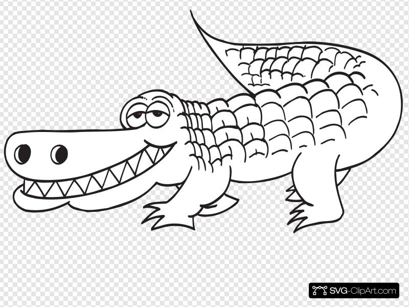 White Alligator Outline Clip art, Icon and SVG.