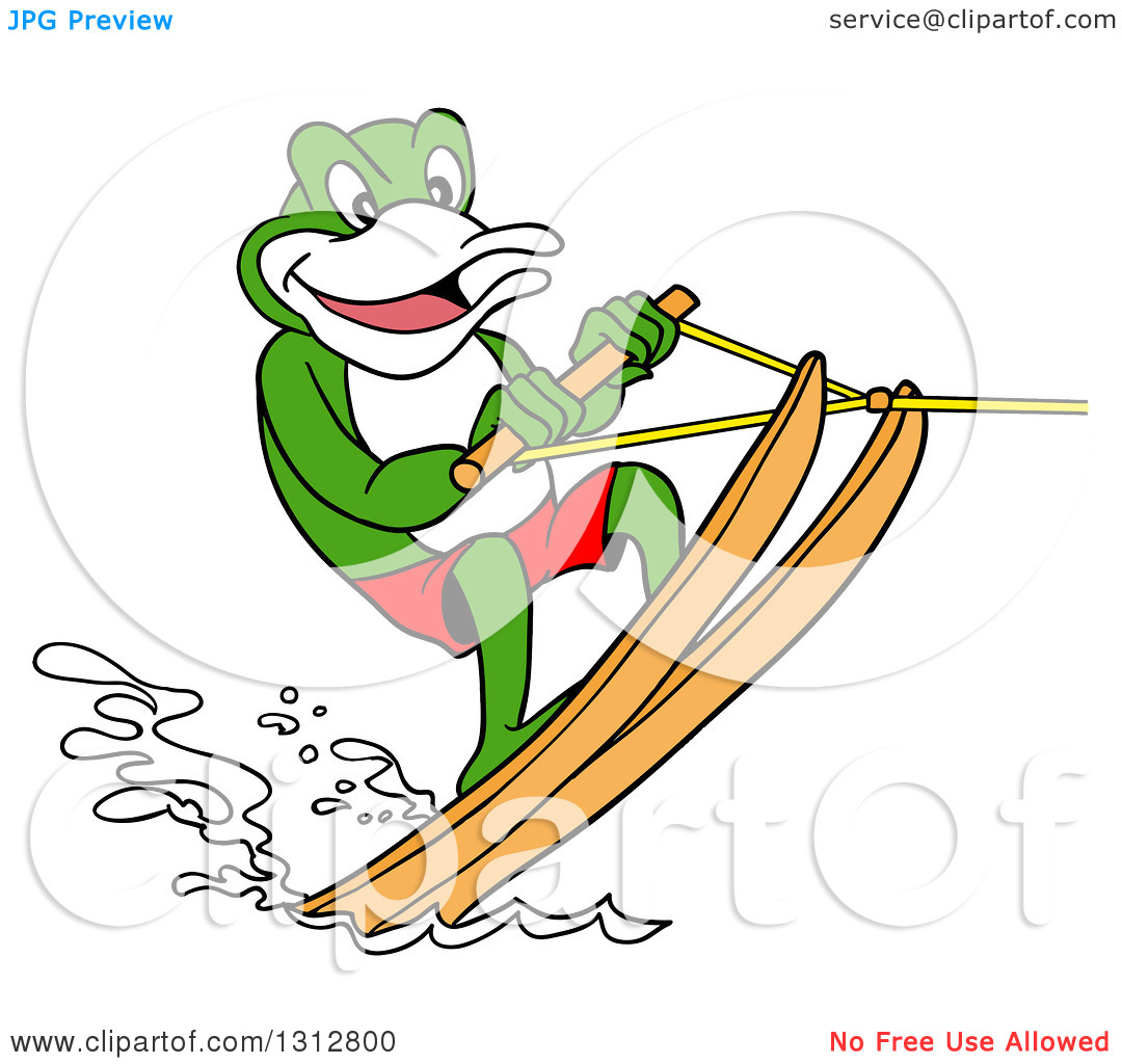 Crocadile clipart water skiing.