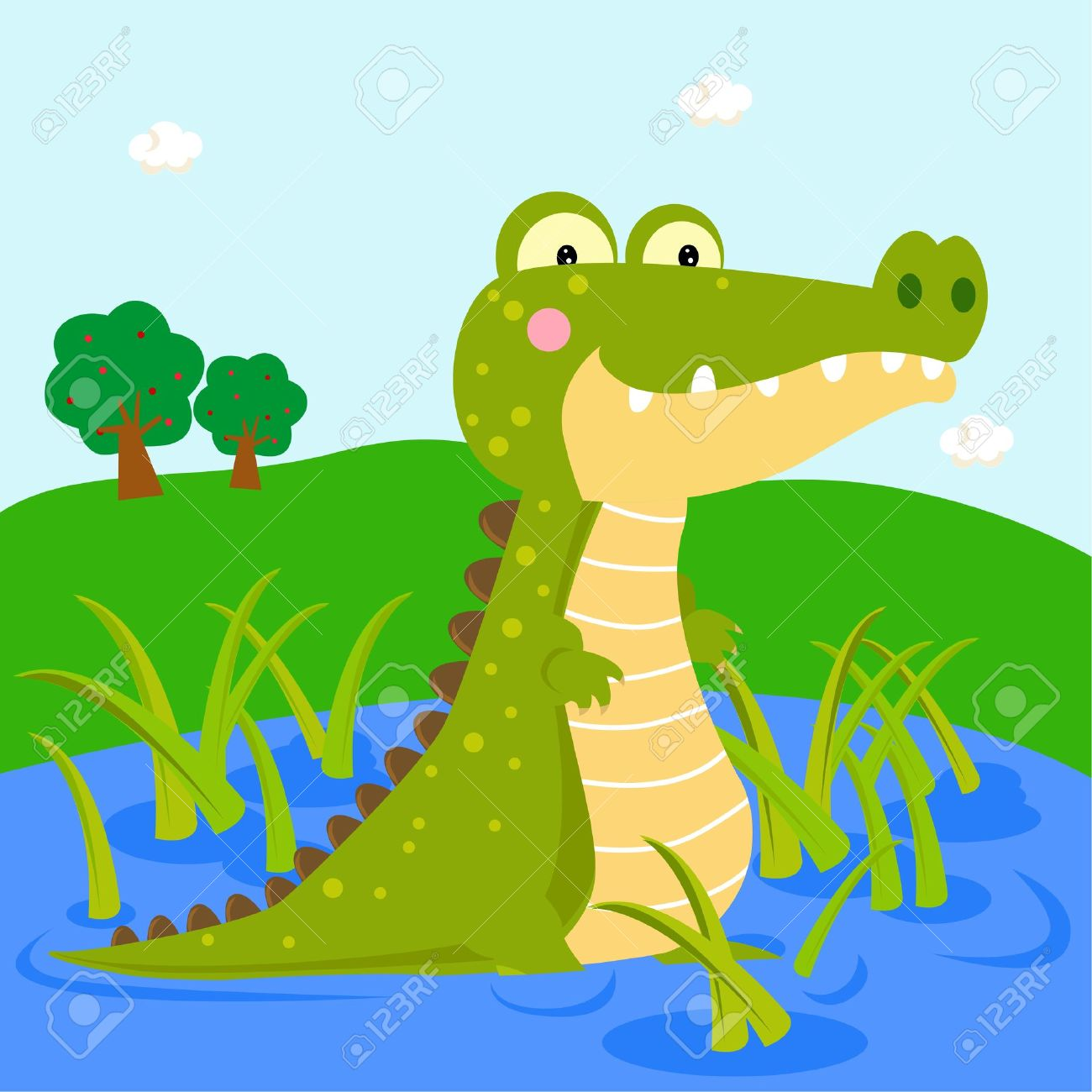Crocodile In Water Clipart.