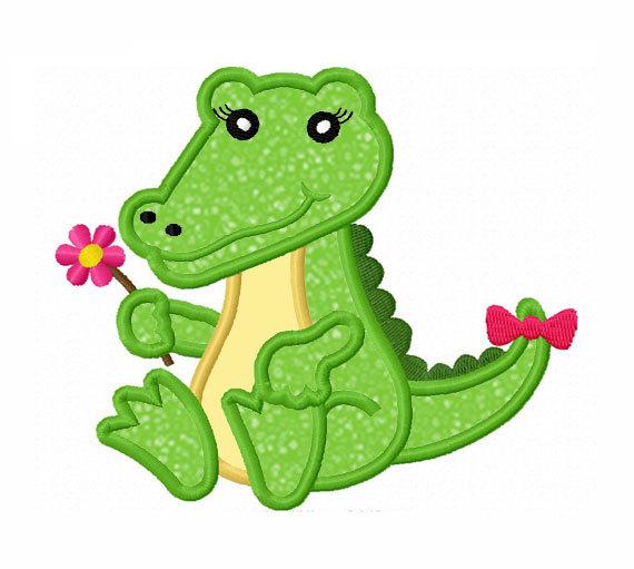 Girl alligator clipart.