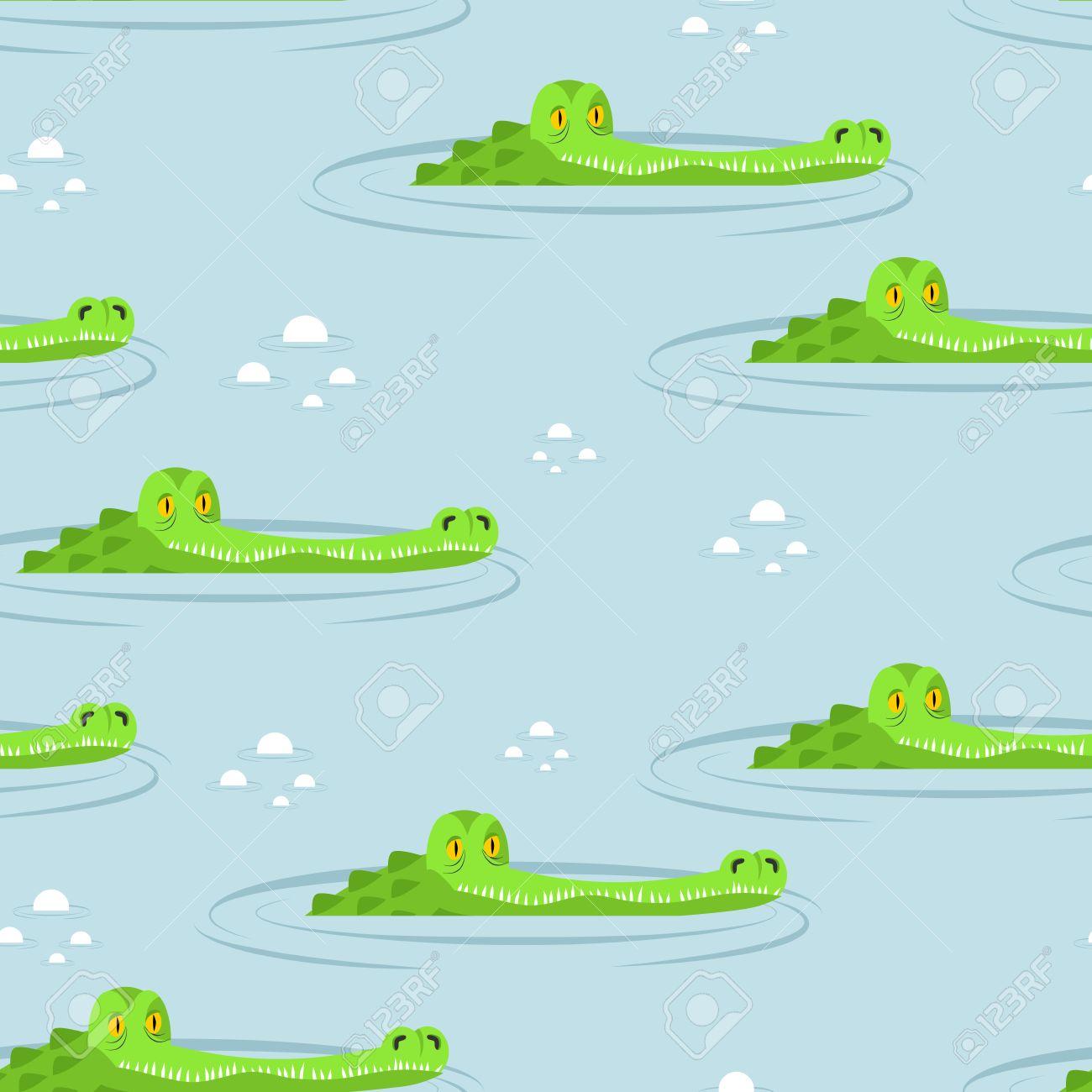 Crocodile in water seamless pattern. Large alligator in swamp...