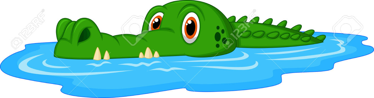 Alligator In Water Clipart.