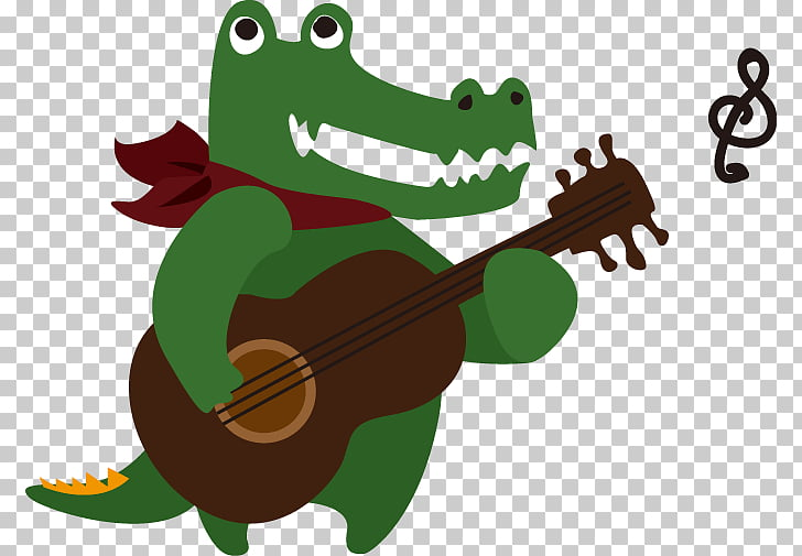 Guitar Illustration, Cartoon alligator playing guitar.