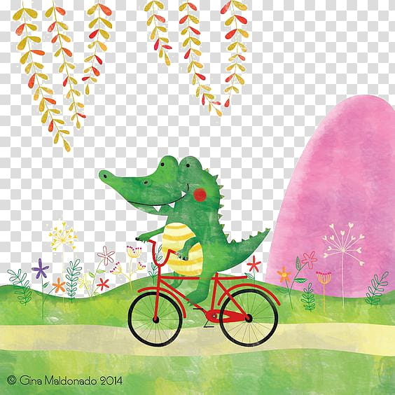 Crocodile Alligator Cartoon Illustration, Crocodile Cycling.