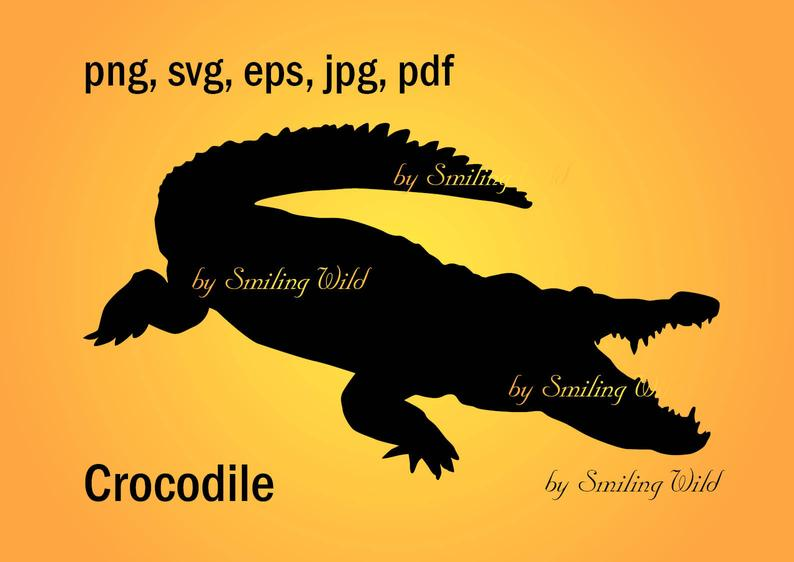 crocodile svg silhouette clipart animal cut out file vector graphic  printable crocodile aligator digital art silhouette art africa animal.