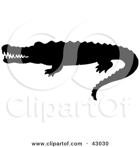 Clipart Illustration of a Black Crocodile Silhouette by Dennis.