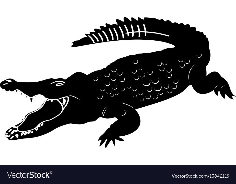 Isolated crocodile silhouette.