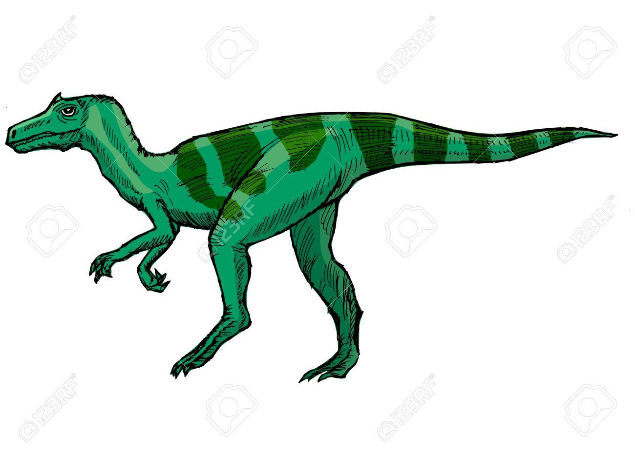 Hand Drawn, Vector, Sketch Illustration Of Allosaurus Royalty Free.