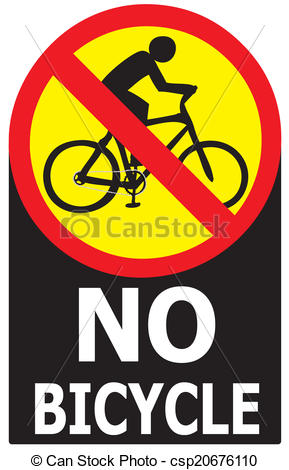 Vector Clip Art of No Allow Bicycle Sign Label.