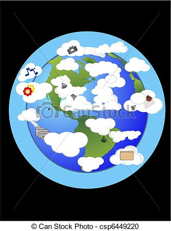Vector Clipart of World wide cloud computer, storing data, and.