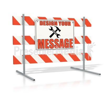 This custom design clipart shows a large road barricade sign that.