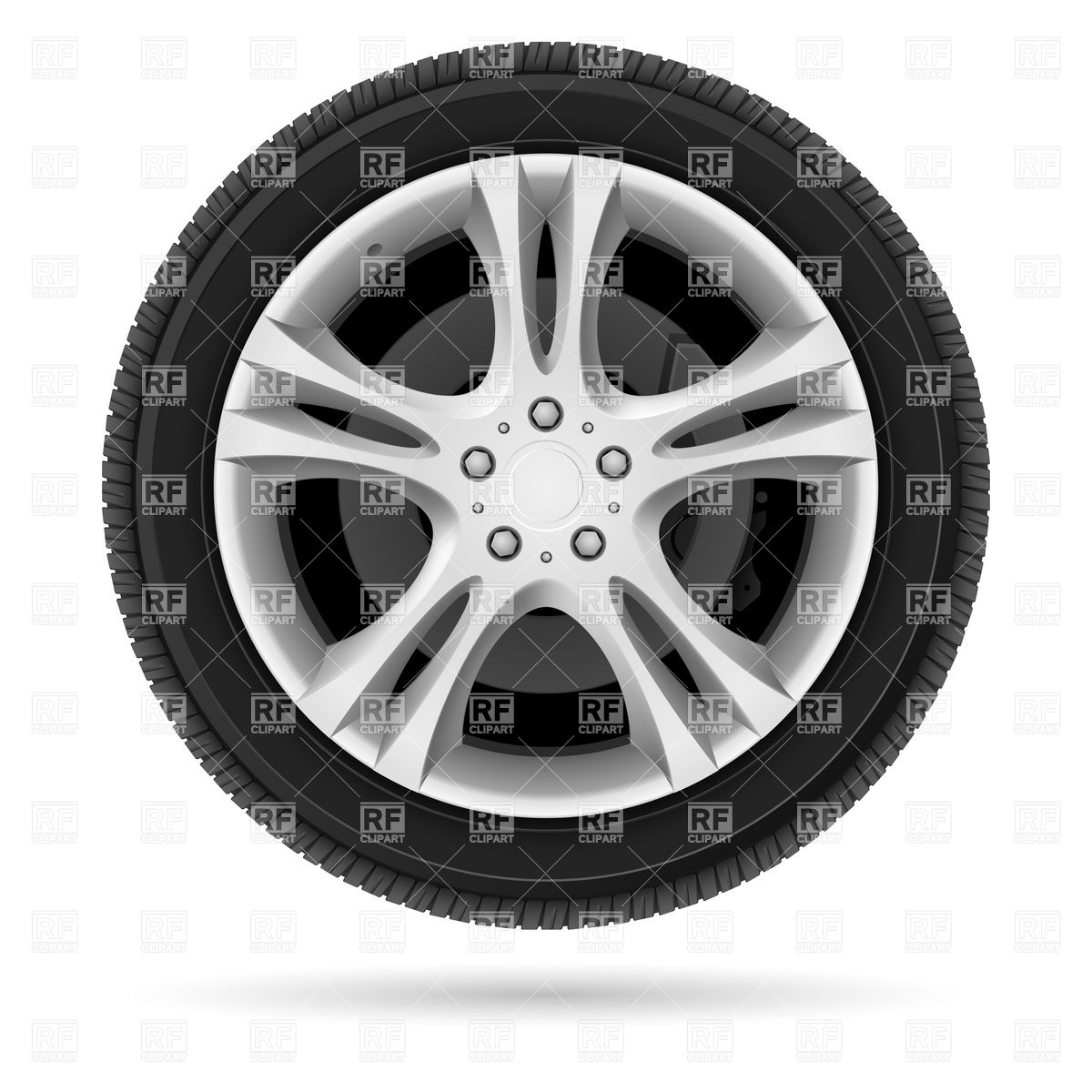 Car wheel with alloy rim Vector Image #6827.