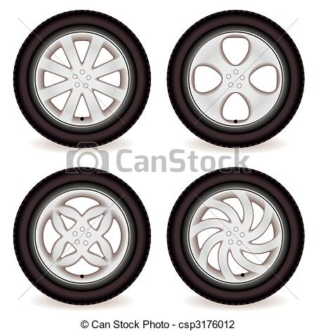 Vector Illustration of car wheel collection.