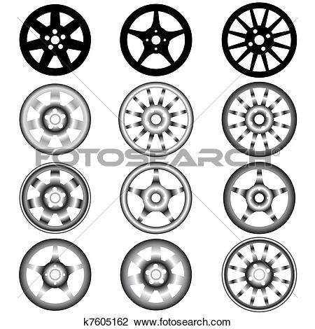 Clipart of automotive wheel with alloy wheels k7605162.