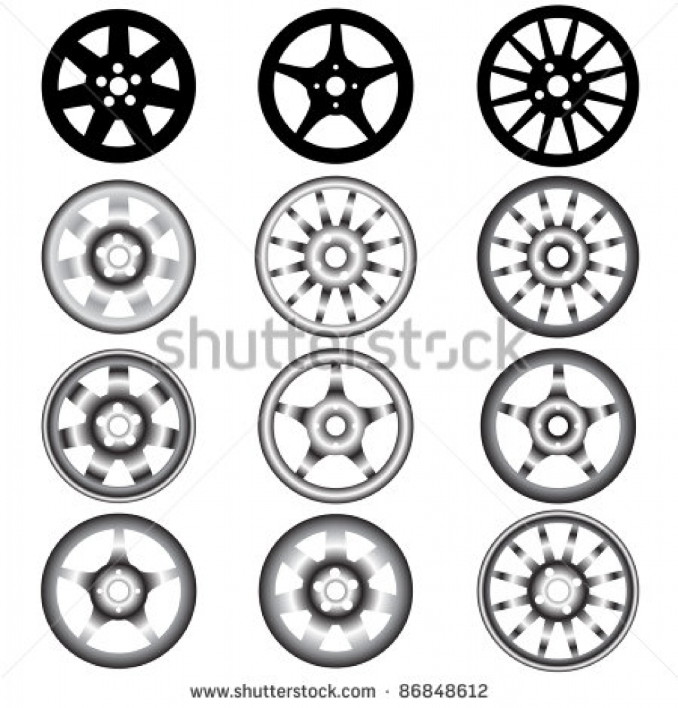 automotive wheel with alloy wheels stock vector illustration.
