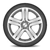 Clipart of automotive wheel with alloy wheels and low profile.