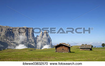 "Stock Photography of ""Mountain huts, Schlern Massif or Sciliar."