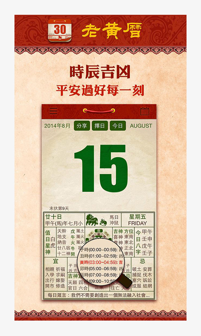 The Old Almanac Page Display, The Almanac, Laohuangli, Traditional.