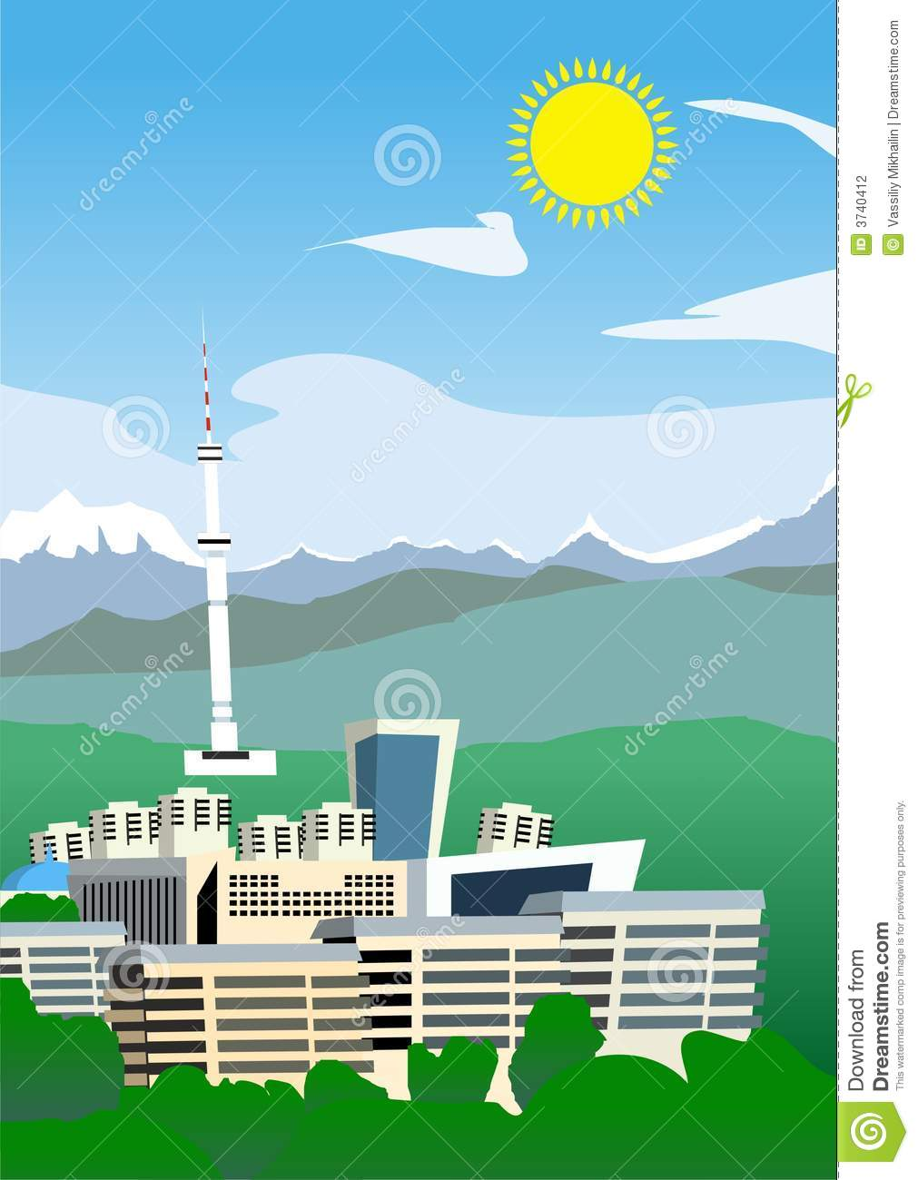 Cartoon Almaty Stock Photography.