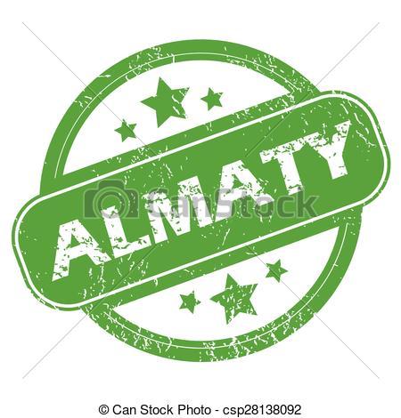 EPS Vectors of Almaty green stamp.