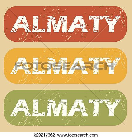 Clipart of Vintage Almaty stamp set k29217362.