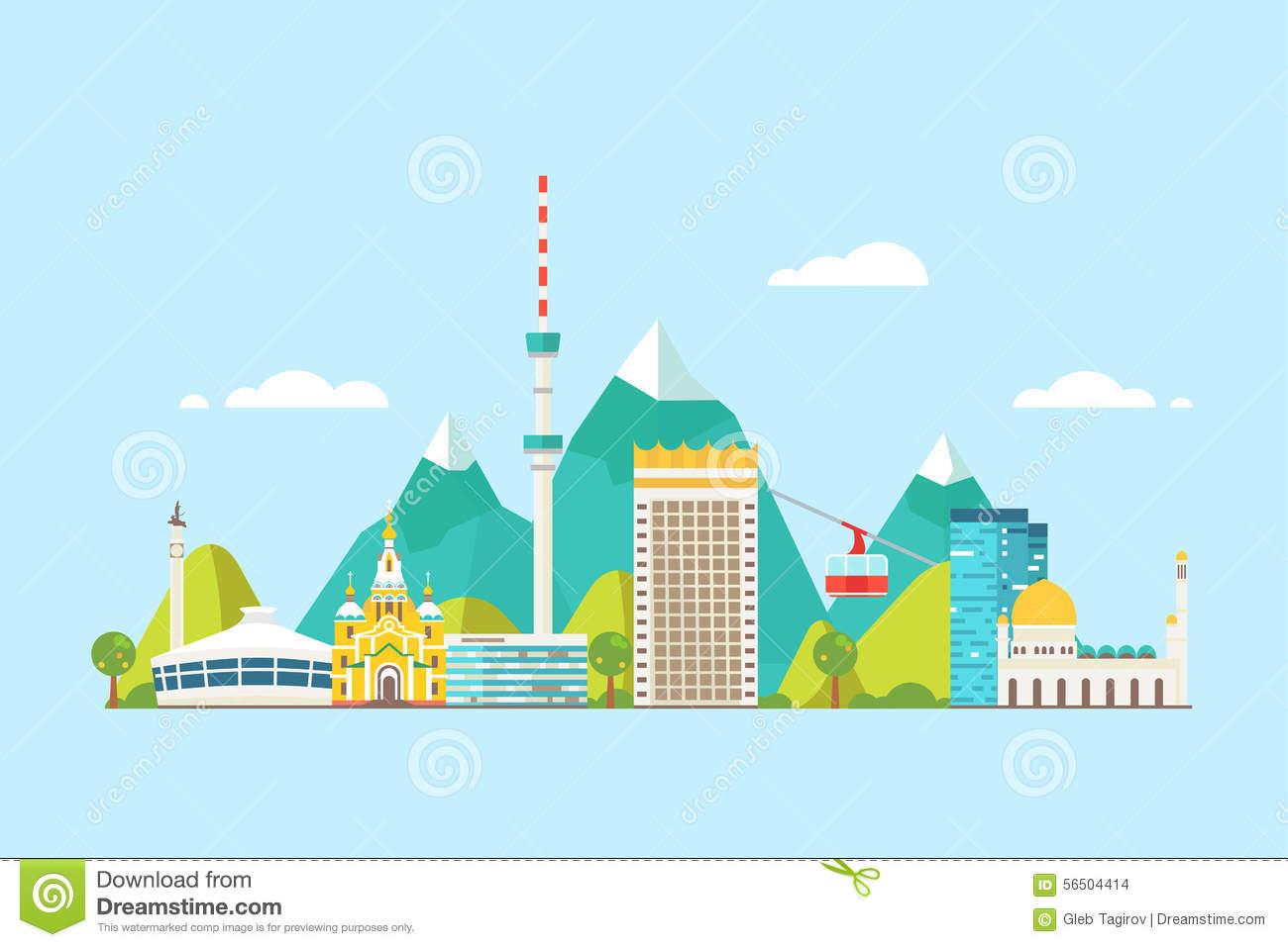 Almaty Abstract Skyline Stock Vector.