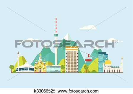 Clipart of Almaty abstract skyline k33066525.