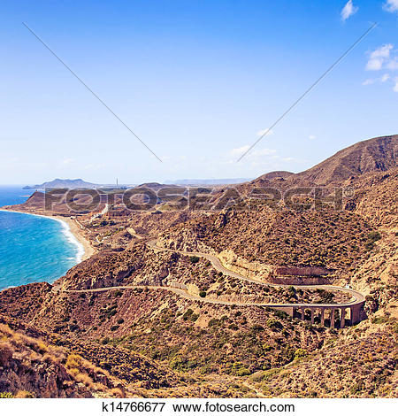 Picture of Andalusia, landscape. Road in Cabo de Gata Park.
