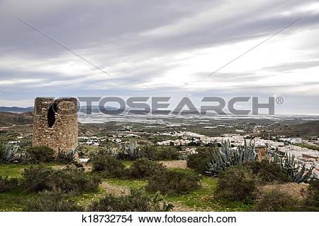 Stock Photo of Atalaya watchtower and greenhouses in background.
