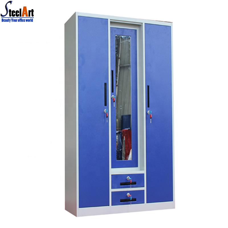 Hotel Clothes Storage 3 Door Steel Almirah Cabinet.