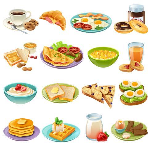 Pequeno Almoço Brunch Menu Food Icons Set.