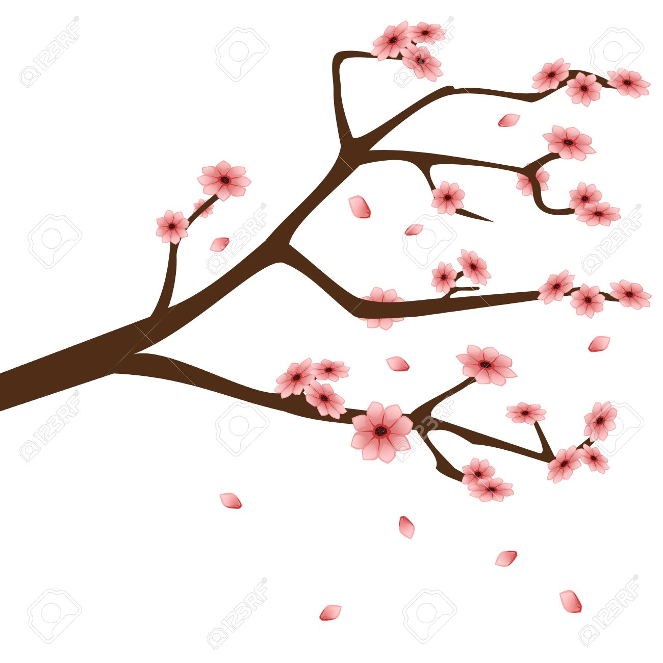 Almond Flower Clip Art.
