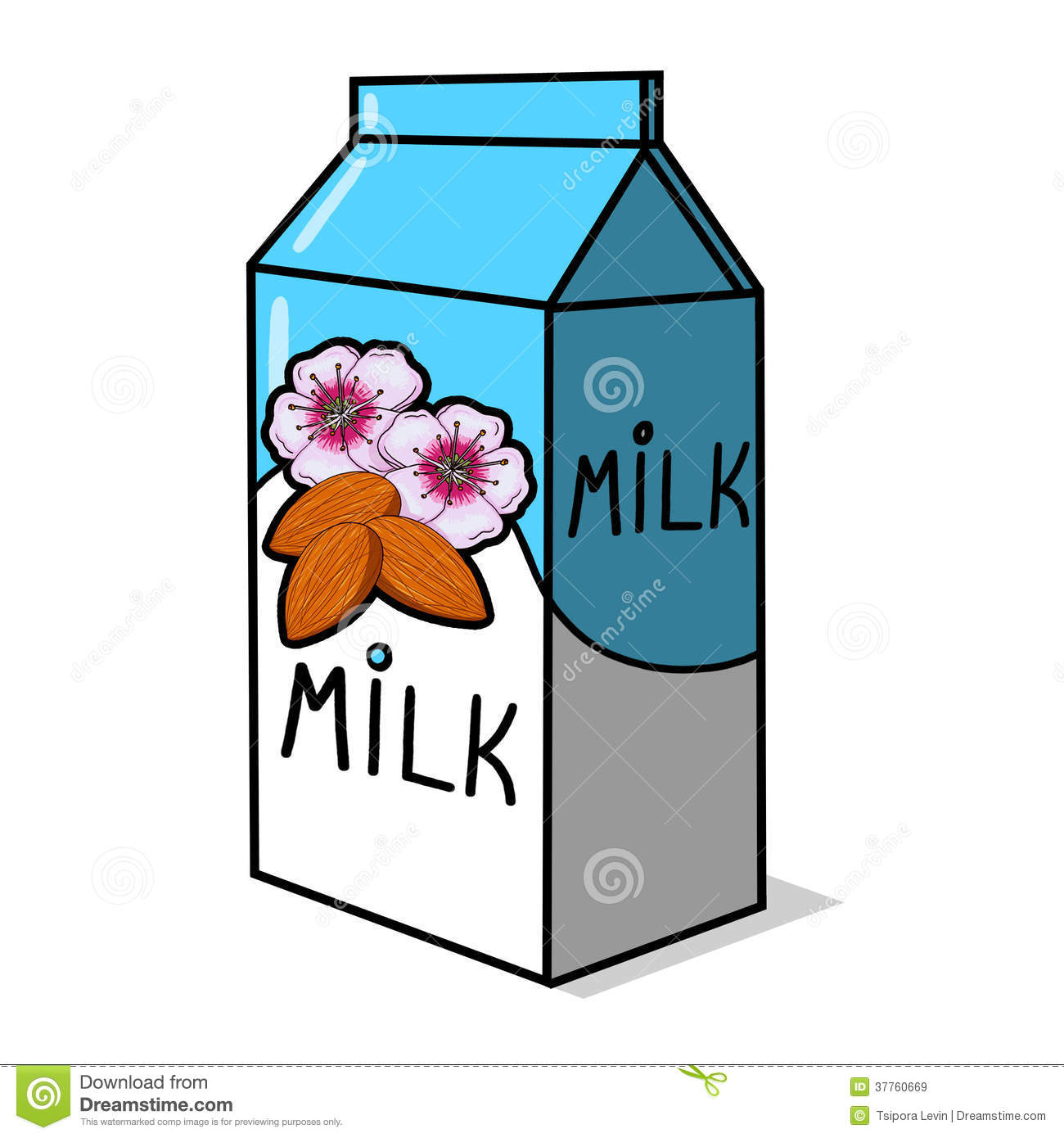 Royalty Free Stock Images: Almond Milk Carton Illustration.