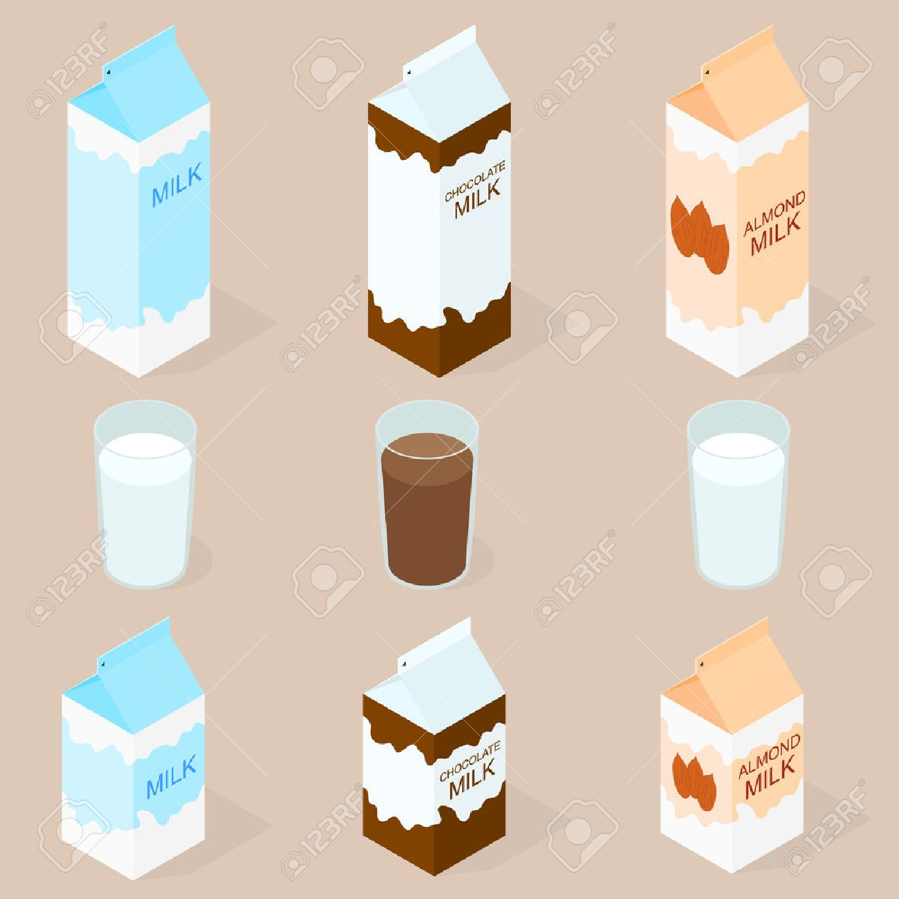 Package of almond milk, chokolate milk and cow milk. The isometry.