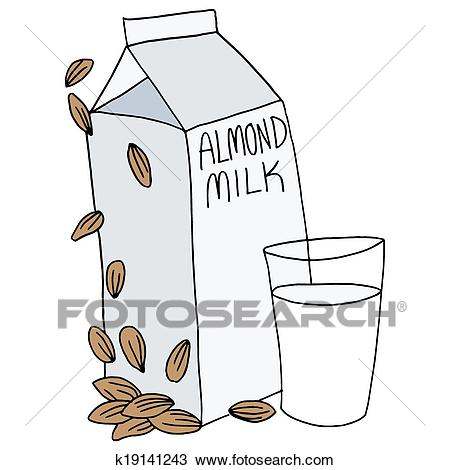 Almond Milk Carton Clipart.