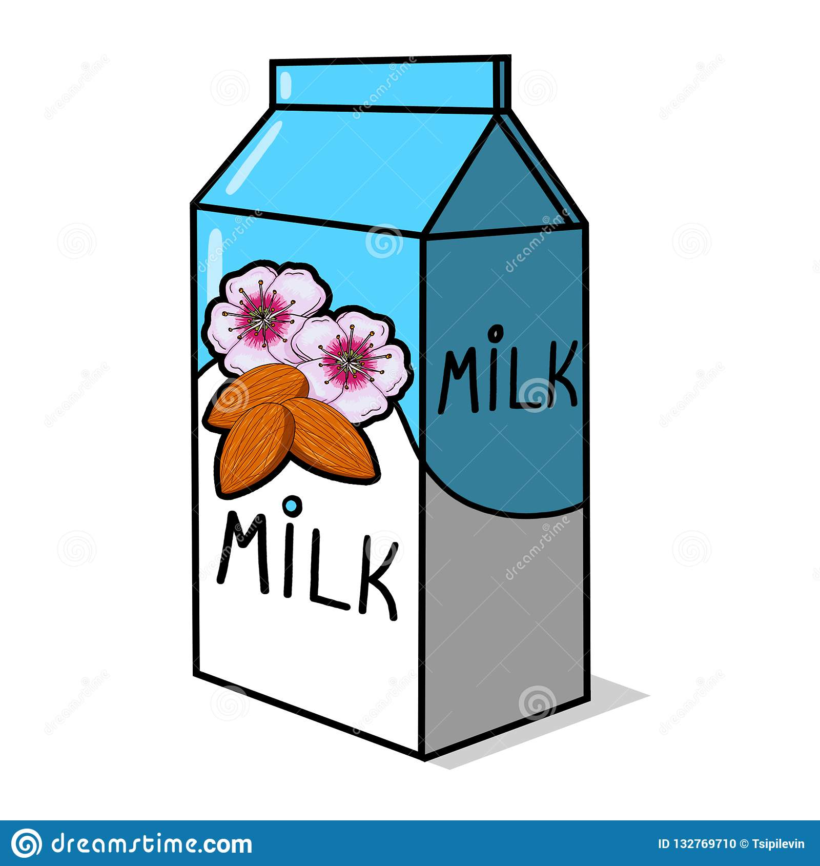 Almond Milk Carton Illustration Stock Illustration.