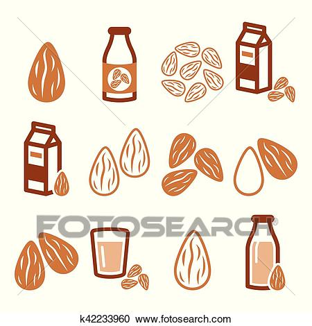 Almonds, almond milk vector icons set Clipart.
