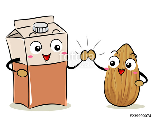 Mascot Almond Milk Box High Five Illustration