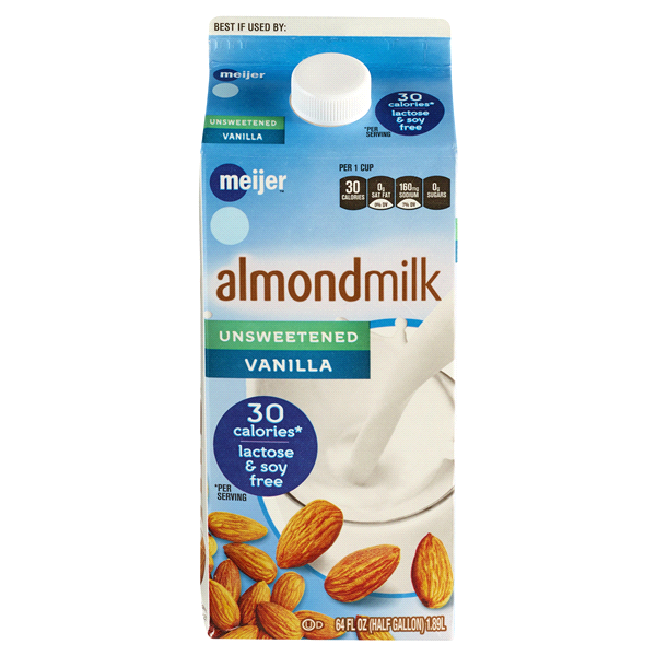 Meijer Unsweetened Vanilla Almond Milk, 64 fl oz.