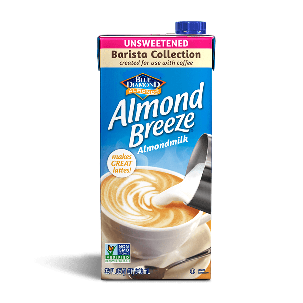 Almond Breeze Barista Blend Unsweetened Almond Milk.