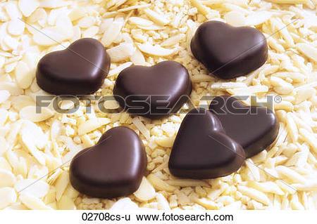 Stock Images of Chocolate hearts on almond slivers 02708cs.