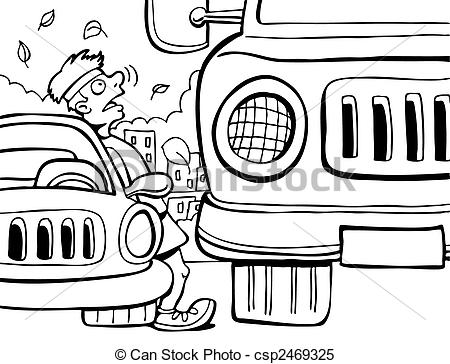 Clipart Vector of Almost Hit by a Truck vector illustration image.