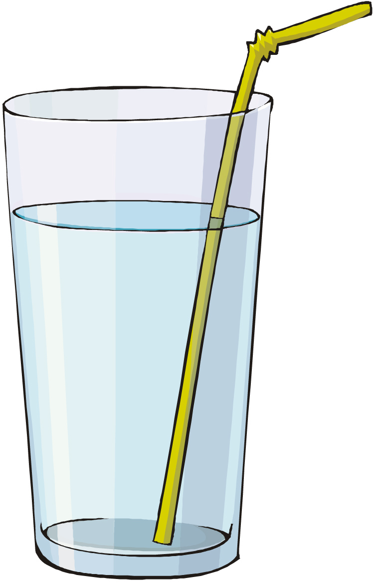 Clipart of an almost empty glass of water.