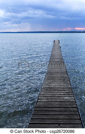 Pictures of Pier at a lake by almost night.