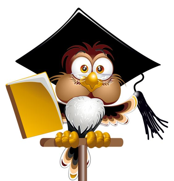 Owl with School Book PNG Clipart Image.