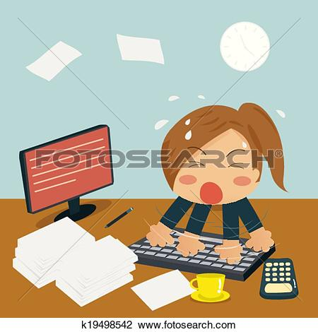 Clipart of Businesswoman is Speedy Typing In Office on Desk among.