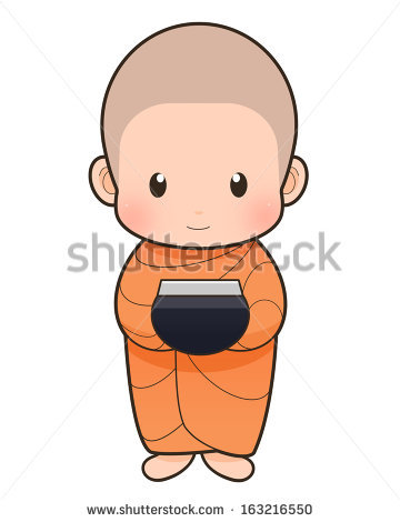 Cartoon Thai Monk Vector Stock Vector 255473683.