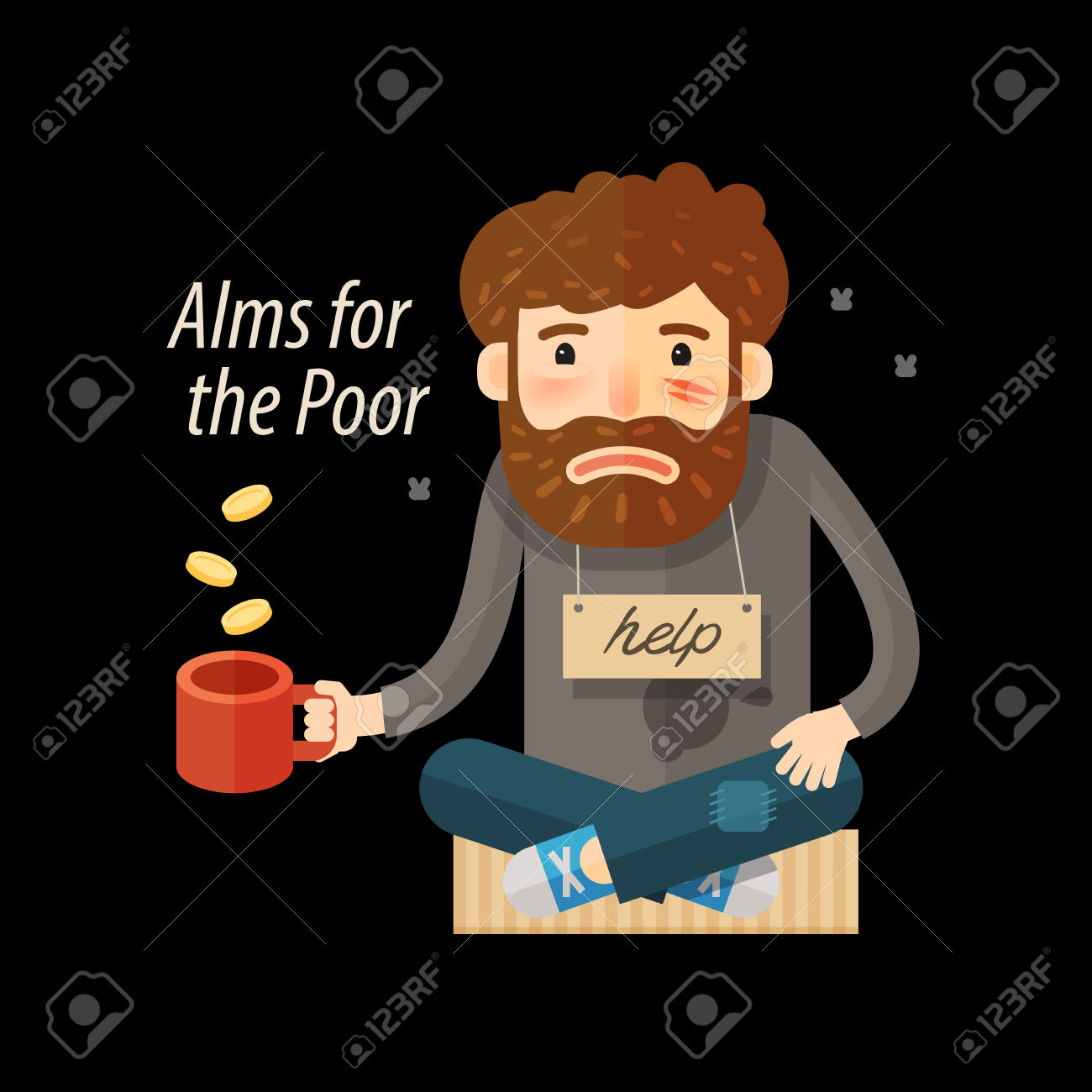 Street Beggar. Unemployed Or Homeless Icon. Alms Vector.