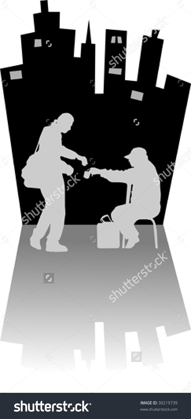 The Man Gives Alms To The Beggar In The Street Stock Vector.