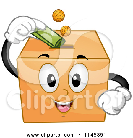 Cartoon of a Donation Box Mascot Inserting Money.